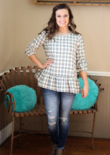 WHITE/BLACK PLAID RUFFLE TOP