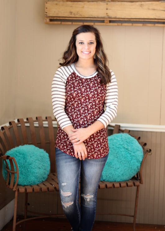 WINE FLORAL TOP W/ STRIPED SLEEVES
