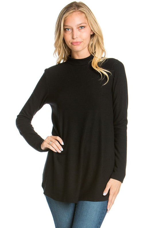 Black Mock Neck Tunic - Brooch Boutique