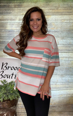BEIGE/CORAL/MINT STRIPED TOP