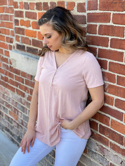 BLUSH PINK TOP W/ BUTTON NECKLINE