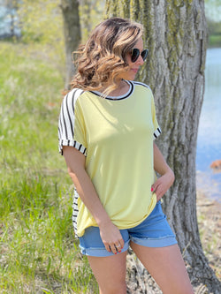 YELLOW TOP W/STRIPED BACK