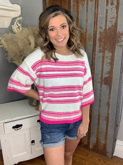 HOT PINK STRIPED KNIT TOP