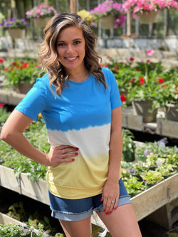 BLUE/WHITE/YELLOW OMBRE COLORBLOCK TOP