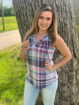 NAVY/PINK PLAID HOODED TANK
