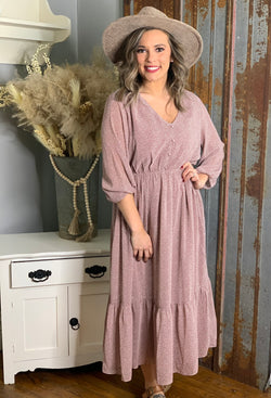 MAUVE BUTTON LINED MIDI DRESS