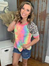 TIE DYE TOP W/ CONTRASTING STRIPE/ANIMAL SLEEVE