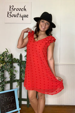 TOMATO RED LARGE SWISS DOT DRESS