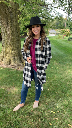 BLACK PLAID SNAP BUTTON DUSTER FLANNEL
