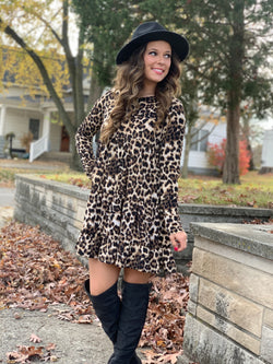 LEOPARD TIERED RUFFLE DRESS