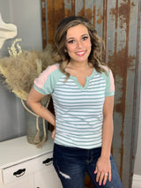 SAGE STRIPED VNECK W/ BLUSH SLEEVE