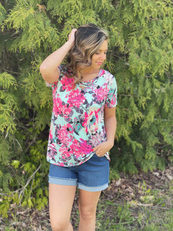 SAGE/NEON PINK FLORAL CRISS CROSS TOP