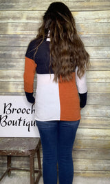 BLOCK COLORBLOCK MOCK NECK KNIT TOP