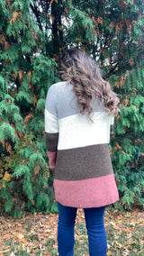 TAUPE/RUST COLORBLOCK CARDIGAN