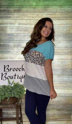MINT COLORBLACK TOP W/ CHEETAH