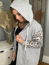 GREY/ANIMAL SLEEVE FRENCH TERRY CARDIGAN