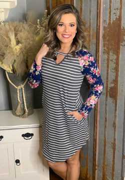 CHARCOAL STRIPED BASEBALL STYLE DRESS W/ FLORAL SLEEVES