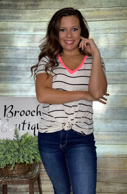 IVORY/NAVY STRIPED TOP W/ NEON TRIM