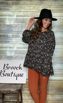 BLACK FLORAL WOVEN TIERED TOP