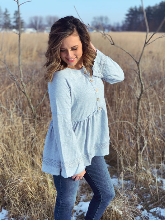 BLUE GREY BUTTON LACE FRONT TOP