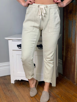 KHAKI WASHED TWILL MOM JEAN