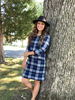 BLUE PLAID DRESS