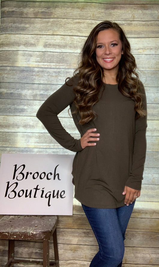 OLIVE LONG SLEEVE ROUND NECK TOP