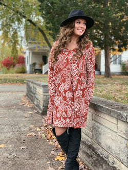 RUST PAISLEY DRESS