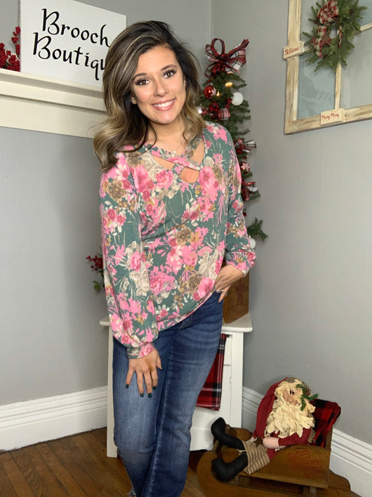 JADE FLORAL CROSS FRONT TOP