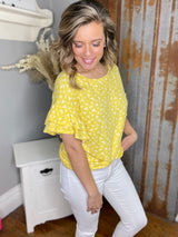 YELLOW FLORAL PRINT RUFFLE SLEEVE ULTRA SOFT TOP