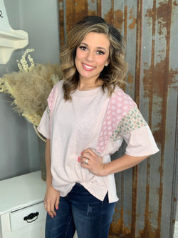 BLUSH PATCHWORK SHORT SLEEVE TOP
