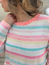 MULTI COLOR STRIPED ANIMAL NECKLINE TOP