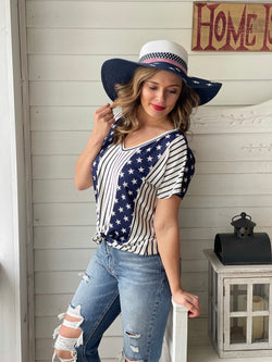NAVY STRIPED/STAR TEE