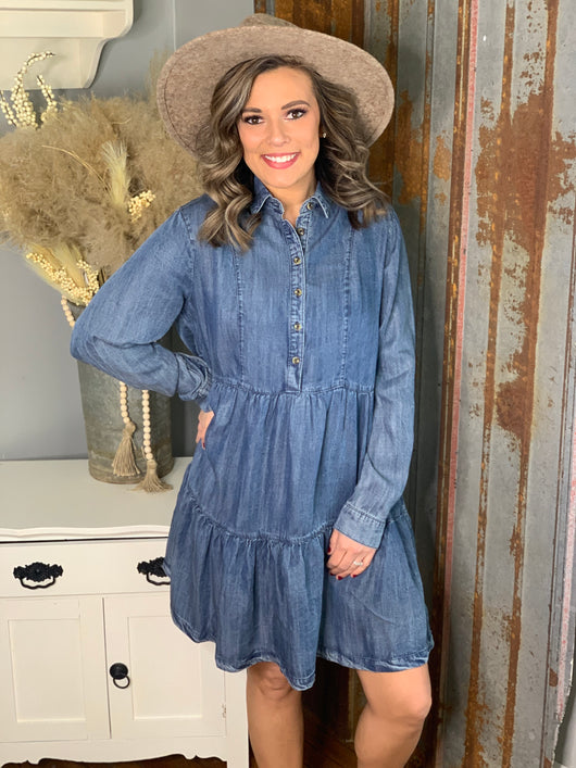 DENIM BUTTON FRONT RUFFLE DRESS