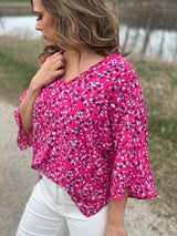 PINK CONFETTI WOVEN BLOUSE