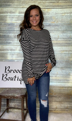 BLACK STRIPED TUNIC