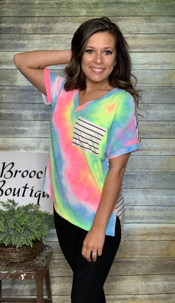 NEON TIE DYE W/ STRIPED BACK AND POCKET