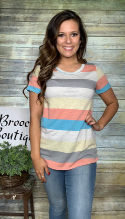 CORAL/YELLOW/JADE STRIPED FRENCH TERRY TOP
