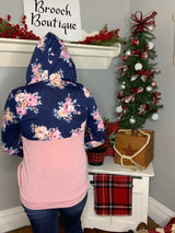 NAVY/PINK FLORAL PULLOVER