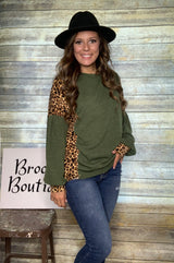 OLIVE/LEOPARD CONTRAST TOP