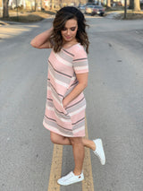 PEACH STRIPED POCKET DRESS