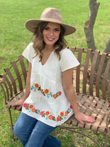 IVORY LINEN BLEND EMBROIDERED TOP