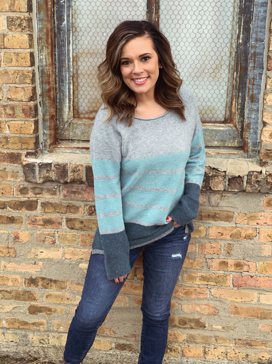 TEAL/GREY STRIPED SWEATER
