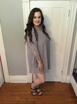 GREY TIE SLEEVE DRESS