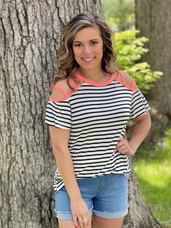 IVORY/BLACK STRIPED CORAL COLD SHOULDER