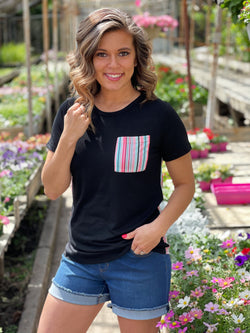BLACK SERAPE CONTRASTING TOP