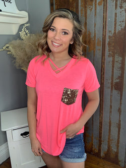NEON CORAL SEQUIN POCKET TOP