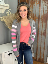 CHARCOAL/PINK STRIPED CARDIGAN