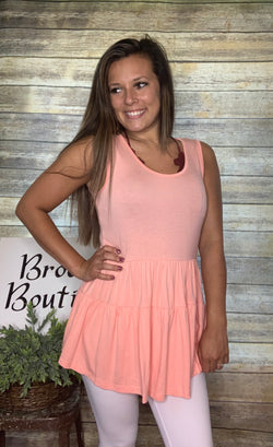 PEACH SOLID TIERED TUNIC