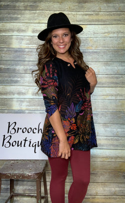 BLACK FLORAL RIVET TUNIC